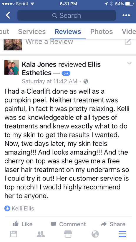 testimonial by Kala Jones for Ellis Esthetics